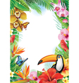 Frame with tropical flowers butterflies and toucan vector image