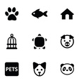 pets icons 9 icons set vector image