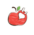 Sketch apple and radish symbols vector image