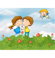 Couple in the garden with Mr cupid vector image vector image