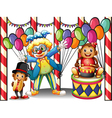 A carnival with a clown and monkeys vector image