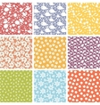 Set of nine cute elements seamless patterns vector image
