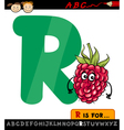 letter r with raspberry cartoon vector image vector image