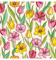 seamless pattern with red and yellow tulips vector image vector image