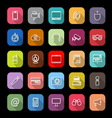 Gadget line icons with long shadow vector image
