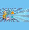 cinema movie horizontal banner blue cartoon style vector image