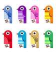 Collection of cartoon birds vector image