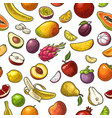 set tropical fruits color vintage vector image