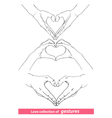 abstract valentines hearts of human hands vector image