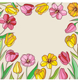 background with red and yellow tulips vector image vector image