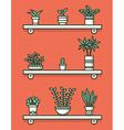 Set of houseplants in pots on shelves vector image