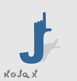 Letter J Logo letters with a hand Finger pointing vector image