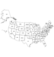 Outline map American states vector image vector image