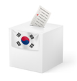 Ballot box with voicing paper South Korea vector image