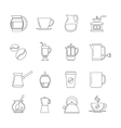 Coffee thin line icons set vector image