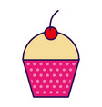 cute fuchsia cupcake cartoon vector image