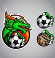 Dragon emblem logo football vector image