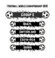 football championship 2018 group e vector image