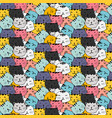 hand drawn cute cat pattern vector image