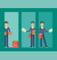 postman delivery man cards character vector image