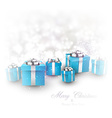 Winter background with blue christmas gifts vector image