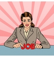 Young Smiling Woman with Letters Job Pop Art vector image