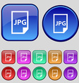 Jpg file icon sign A set of twelve vintage buttons vector image