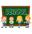 international school sign with students in uniform vector image