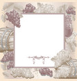vintage frame with wine and grapes vector image