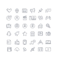 Social media network line icons set vector image