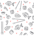 Sushi and rolls seamless pattern Sushi texture vector image