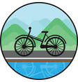 bicycle sign on nature background black icon vector image