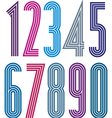 Geometric bright simple striped numbers vector image
