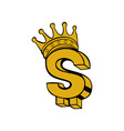 Gold dollar sign with crown vector image