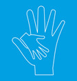 mother holding baby hand icon outline style vector image