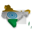 Three Dimensional of India map vector image