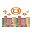 cityscape with wifi service vector image