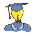 Isolated cartoon light bulb head college graduated vector image