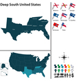 Map of Deep South United States vector image