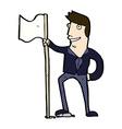 comic cartoon man planting flag vector image