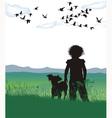 Disheveled girl dog vector image