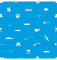 fishing icons blue and white seamless pattern vector image