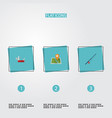 flat icons penknife fishing location and other vector image