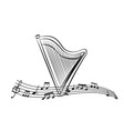 harp in the sheet music vector image