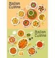Italian cuisine icon set for dinner menu design vector image