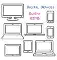 Black digital device outline icons vector image