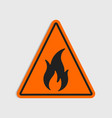 hazard warning sign flammeble fire in vector image