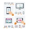 Flat design online shop website on various devices vector image