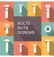 Bolts nuts and screws colored icons vector image