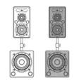 dark contour loudspeakers on subwoofers technical vector image